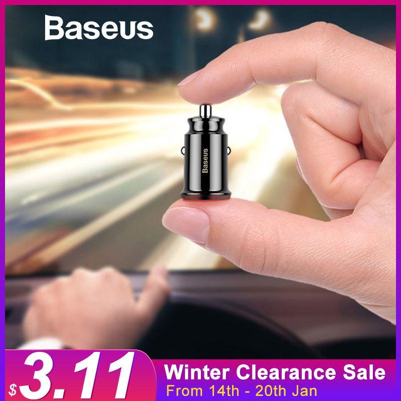 Baseus Mini USB Auto Ladegerät Für Handy Tablet GPS 3.1A Schnelle Ladegerät Auto-Ladegerät Dual USB Auto Telefon ladegerät Adapter in Auto