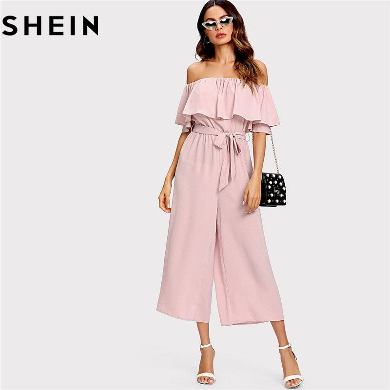SHEIN Pink Off The Shoulder Flounce Belted Summer Women Jumpsuit 2018 <font><b>Office</b></font> Lady Work Solid Mid Waist Self Tie Culotte Jumpsuit