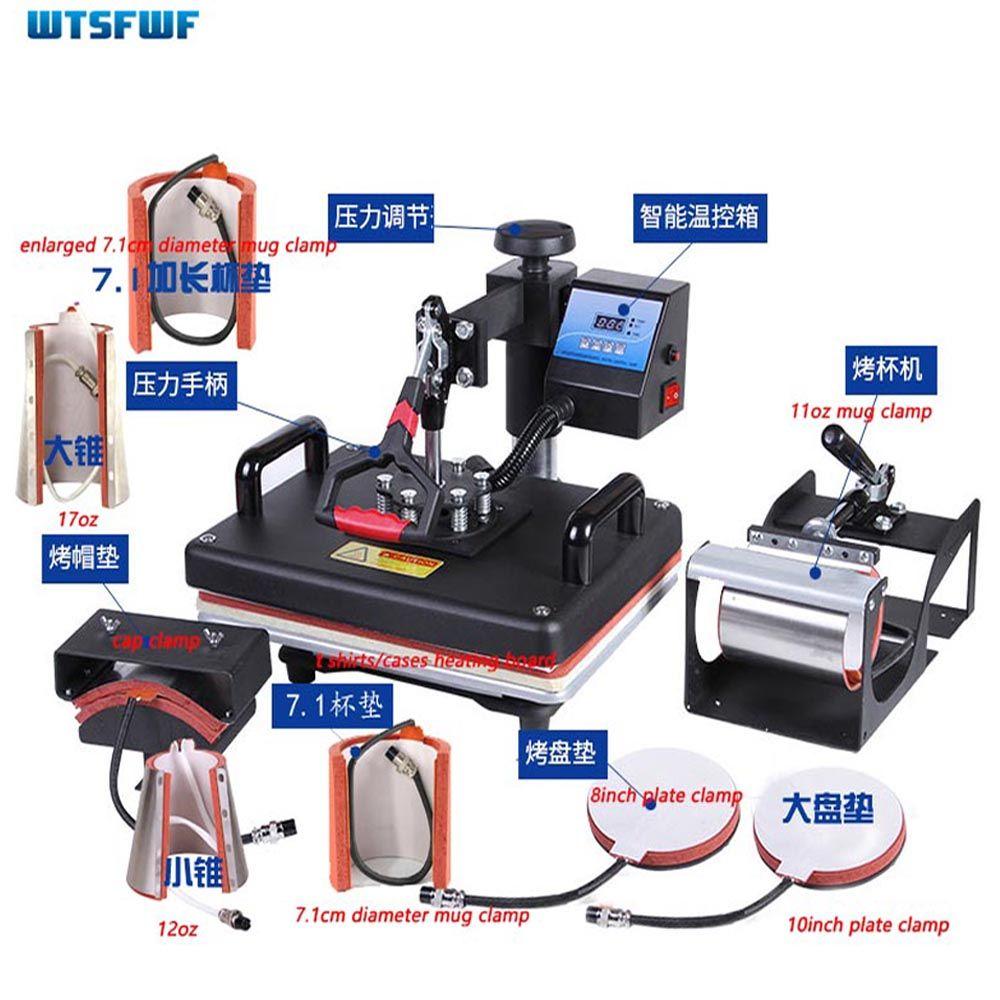 Wtsfwf 30*38 CM 9 in 1 Kombinierter Hitzepresse Drucker Maschine 2D Thermotransferdrucker für Kappe Becher platte T-shirts Druck