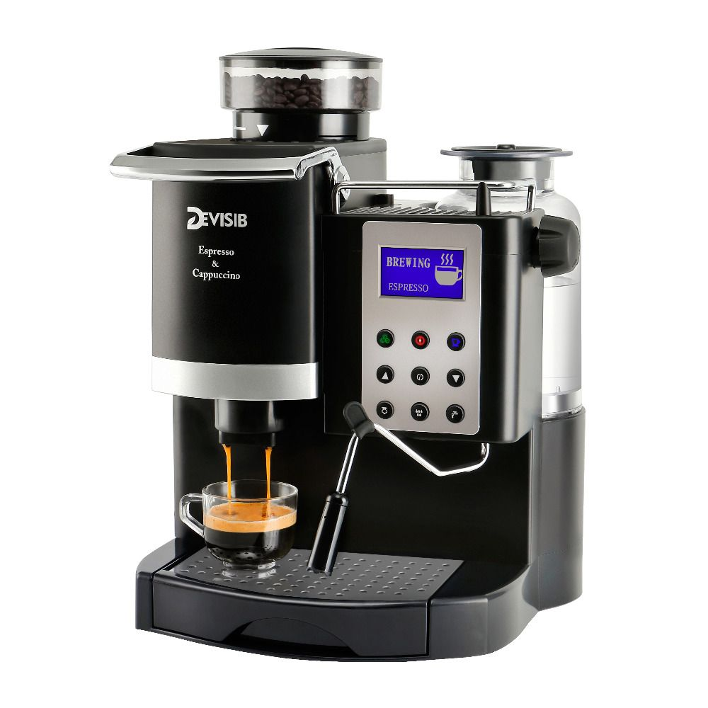 DEVISIB 20BAR Italy-type Automatic Espresso Coffee Machine Maker with Bean Grinder and Milk Frother 1 Year Warranty Including