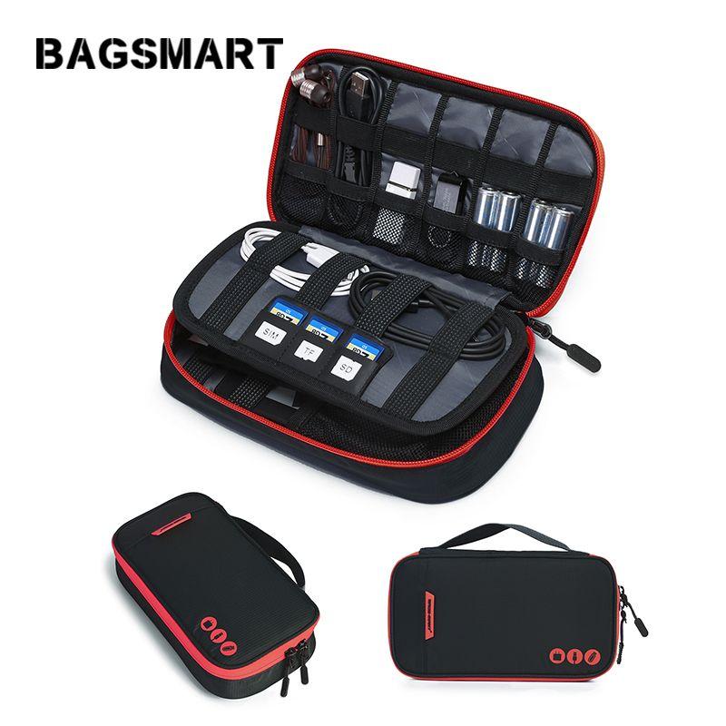 Bagsmart Continuez Voyage Numérique Accessoire Sac Portable Câble Organisateur Sac En Nylon Imperméable À L'eau Sac pour USB Kindle Batterie Câble