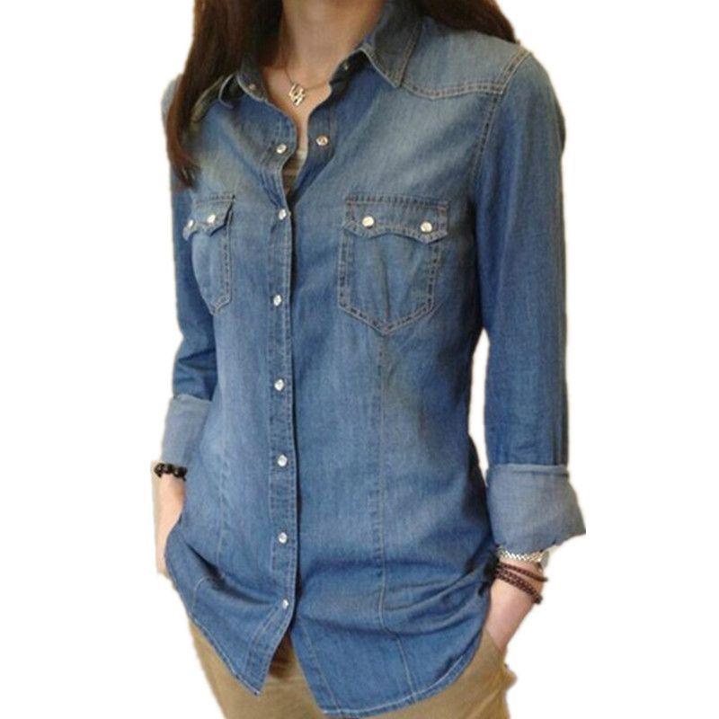 Femmes Chambray petit haut denim chemises et Blouses à manches longues bouton pression coton dames chemise Camisa Blusa Camisetas Femininas