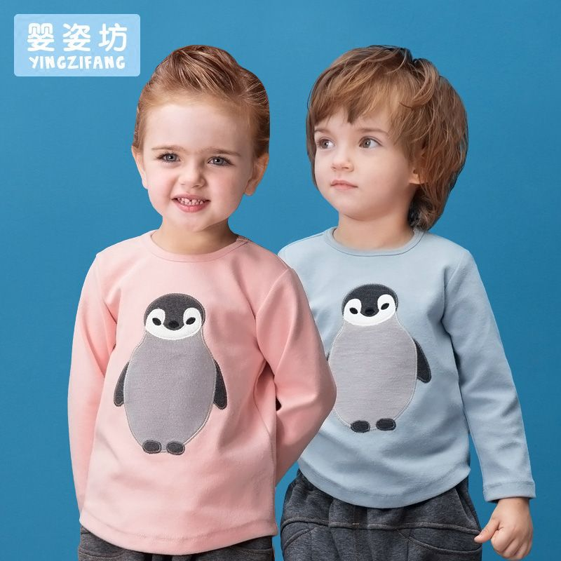 Toddler Sale <font><b>Special</b></font> Offer little boy girls Autumn Unisex Casual Cute Sleeves Cotton Penguin baby Tees Kids infant T-shirts