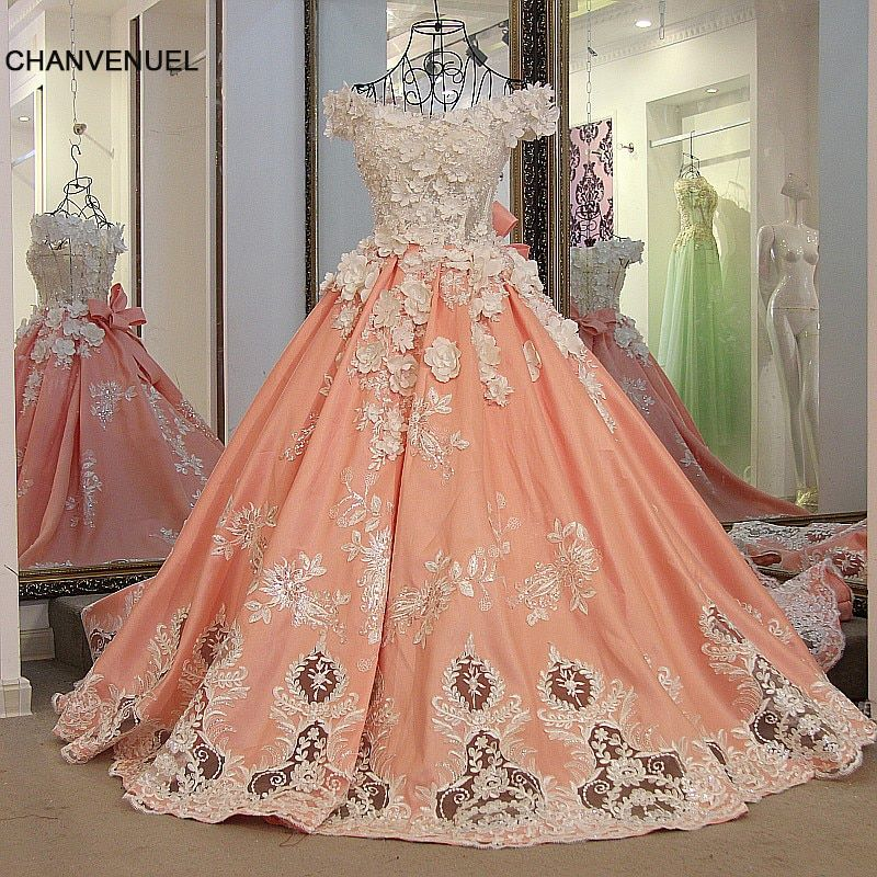 LS30887 bridal evening gown with 3D flowers satin corset back off shoulder ball gown appliqued lace formal gowns real photos