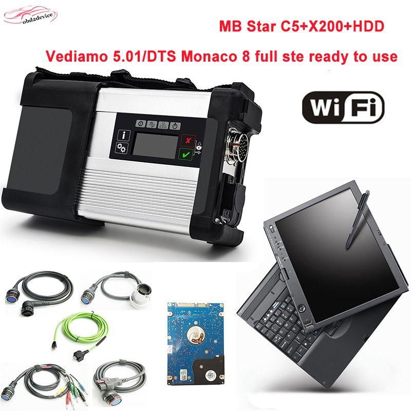 Beste Qualität diagnose-tool MB Sterne c5 mit 2018,3 neueste HDD modus in x200 laptop sd schließen c5 auto scanner Dhl-freies Verschiffen