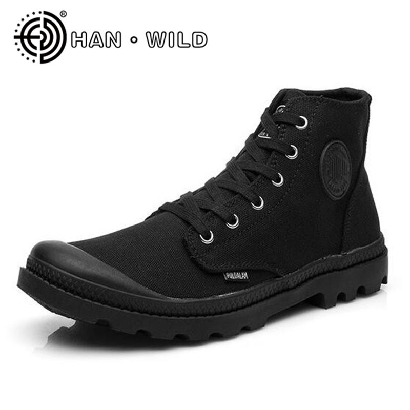 Classic Canvas Shoes Men Lace Up Army Shoes Outdoor High Top Flats Military Desert Shoes Casual Men Flats Travel Shoes