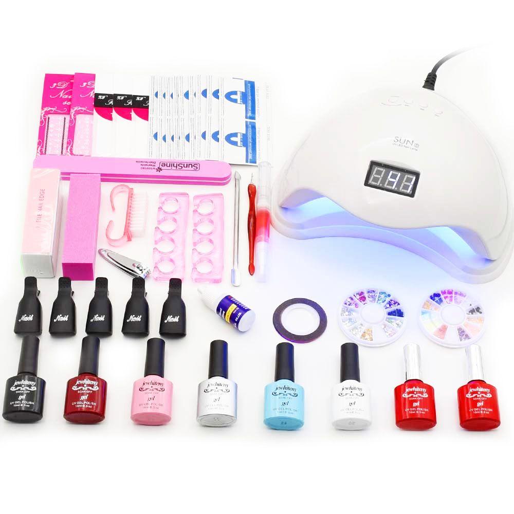 36W 48W led lamp timer nail dryer 6 colors uv gel polish nail art kit set uv gel polish manicure tools set sticker remover file