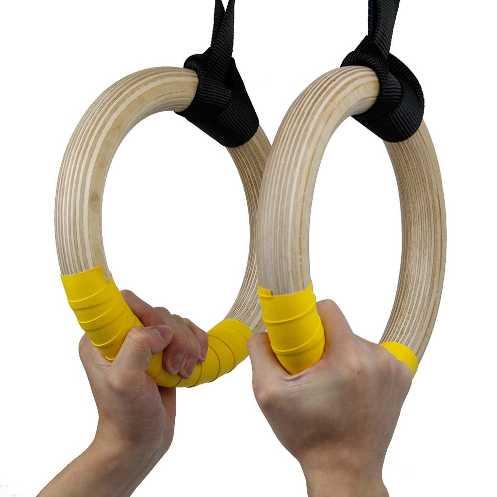 Wooden Gymnastic Rings Training with Adjustable Straps for Men Gym Exercise Crossfit Pull Ups Muscle Gymnastics Equipment