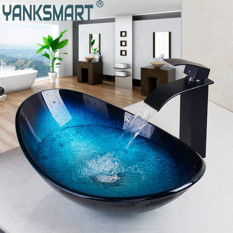 YANKSMART Bathroom Sink Washbasin Tempered Glass Hand-Painted Black Oil Rubbed BronWaterfall Sink Tap Lavatory Brass Set Faucet