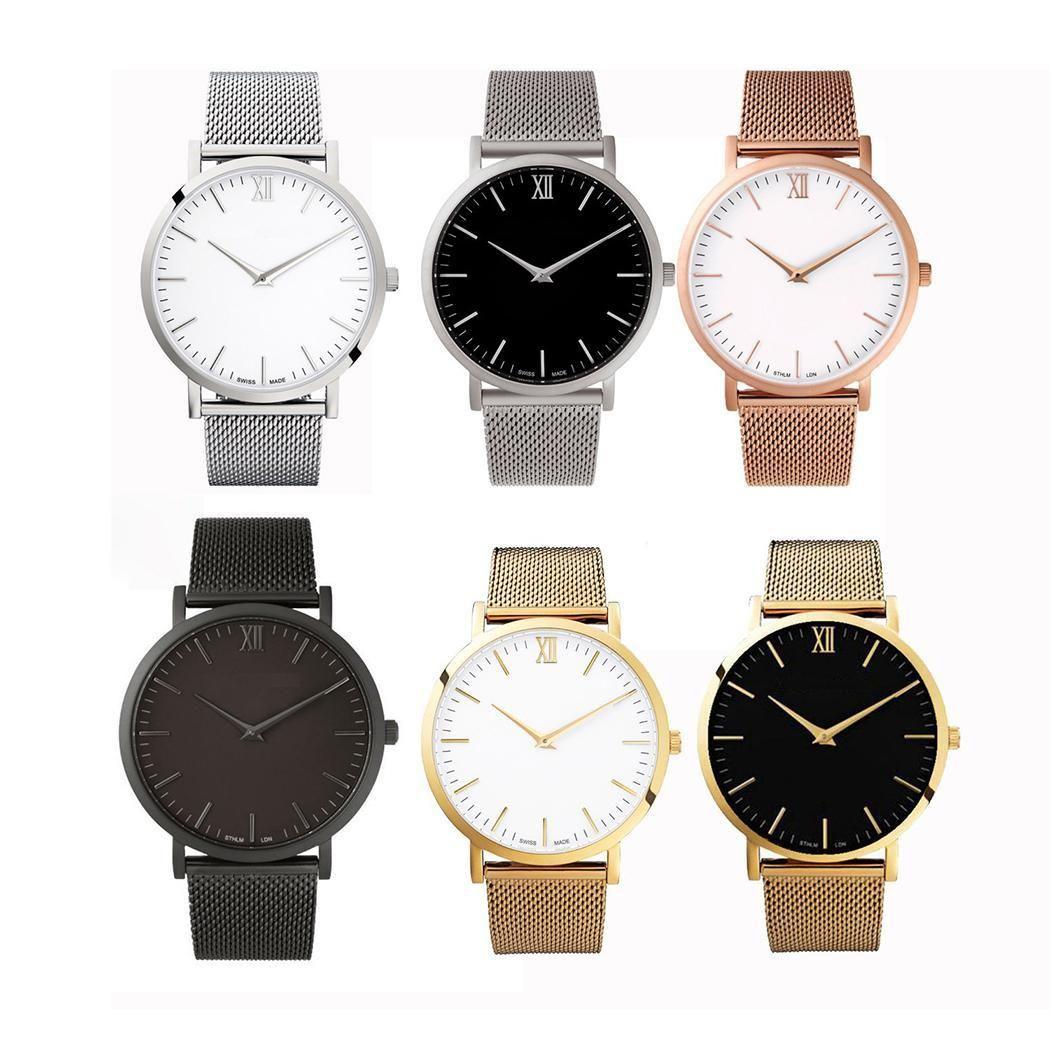 2018 Британский Стиль Уникальный кварцевые часы Для мужчин Для женщин Наручные часы Роскошные ультра тонкий Часы из нержавейки Relogio Feminino