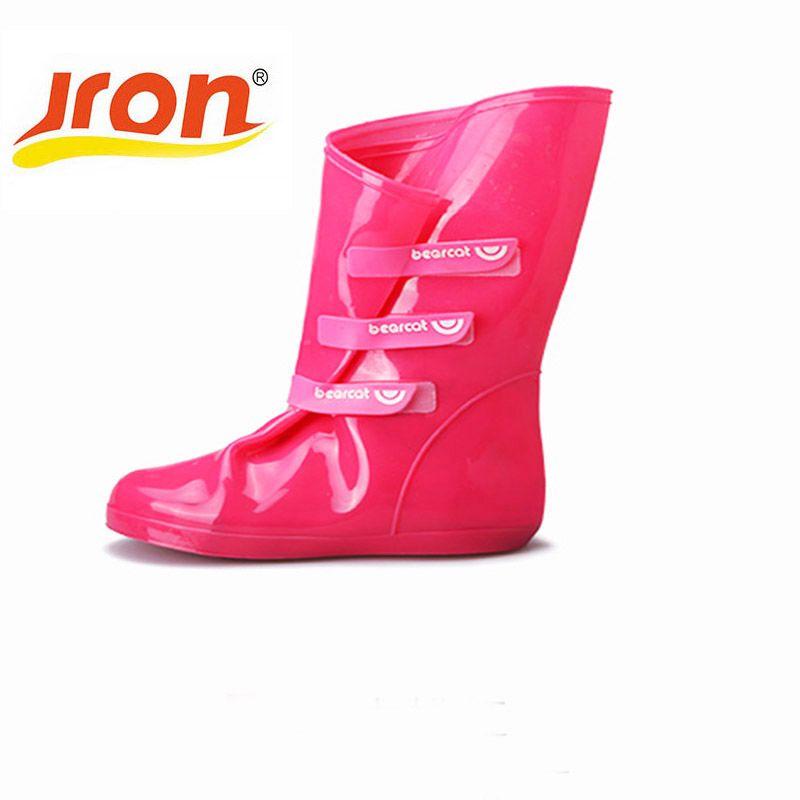 Nouvelle mode solide couleur femmes chaussures en caoutchouc couvre résistance au dérapage imperméable épaissir talon chaussures de pluie pour femme de haute qualité