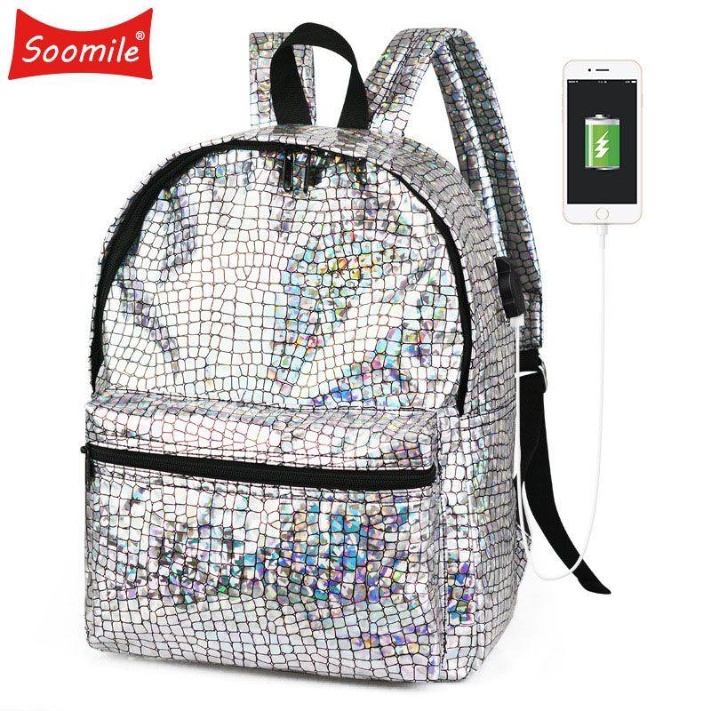Backpack Women Silver Hologram Laser Backpack School Bag For Girl pu Leather Holographic Backpack Fashion Multicolor Sac A Dos