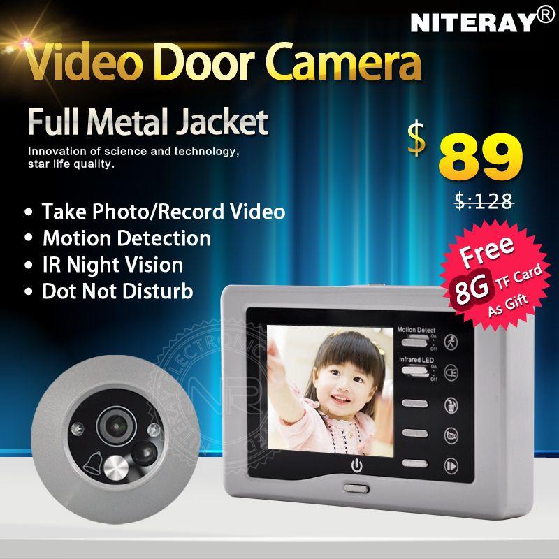 Infrarrojos IR Mirilla de La Cámara de Vídeo Timbre de La Puerta Espectador de La Puerta Digital Con USB + tf