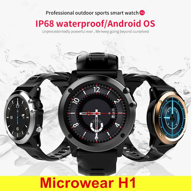 Microwear H1 3G Smartwatch Phone 1.39 Inch Android 4.4 Smart Watch MTK6572 4GB GPS Watch Waterproof IP68 2.0MP Camera Pedometer