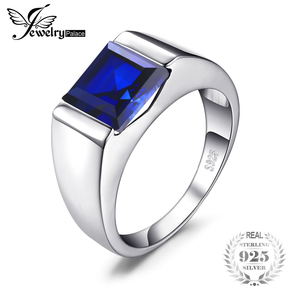JewelryPalace Men's Created Sapphire Ring Genuine 925 Sterling Silver Men Wedding Band Jewelry Gift for Father's Day