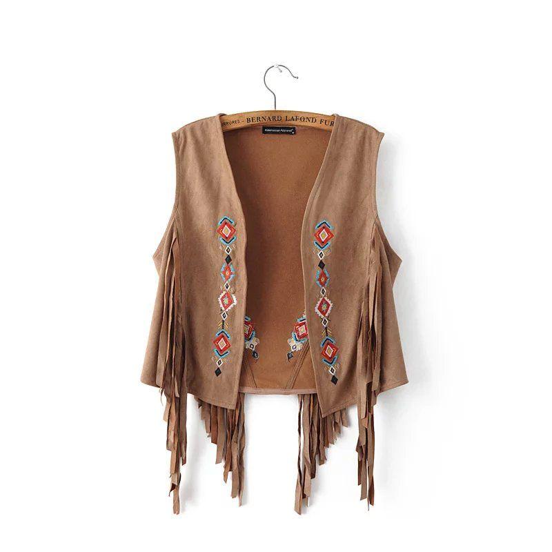 Women suede vest summer 2018 new arrival embroidery black waistcoat  tassel vests ladies brown sleeveless jacket drop shipping