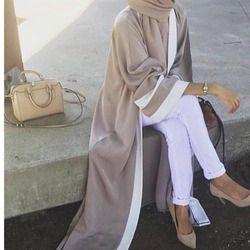 Kasual Muslim Abaya Gaun Bergaris Syal Cardigan Panjang Jubah Kimono Ramadan Timur Tengah Thobe Ibadah Pakaian