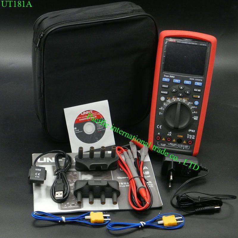 True RMS Datalogging Digital Multimeters UNI-T UT181A DMM Capacitance Temperature Meter w/Re-Chargeable Li-Battery EU Plug