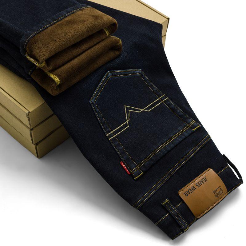 2017 Nuevos Hombres de Actividades Caliente Vaqueros Otoño Invierno caliente flocado Jeans Famosa Marca de Alta Calidad caliente de los hombres de los pantalones vaqueros