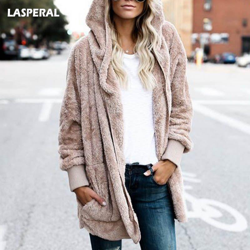 Lasperal новый год весна искусственного меха мишка пальто куртка Женская мода открыть стежка с капюшоном пальто с длинным рукавом Нечеткие кур...