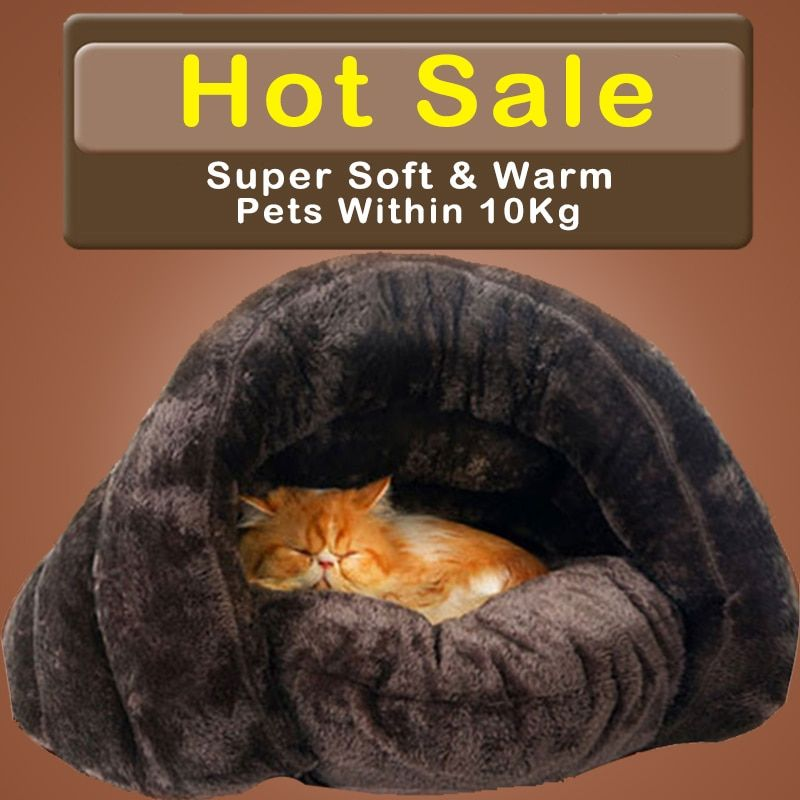 HOOPET Nouvelle Arrivée Chaud Chat Sacs de Couchage Pet Lits Demi de Couverture D'hiver Nid Maison pour Chat Chats Lit Brun 2 Taille # K