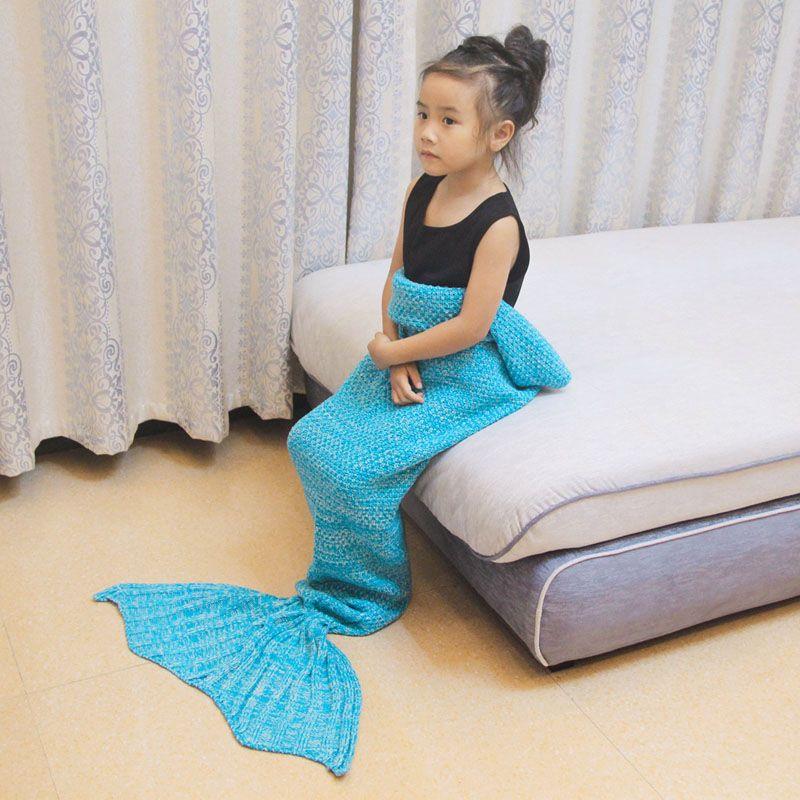 Kid tricoté sirène queue couverture literie canapé sac de couchage emmailloter sirène couverture petite queue jeter lit couverture pour emmailloter pour bébé