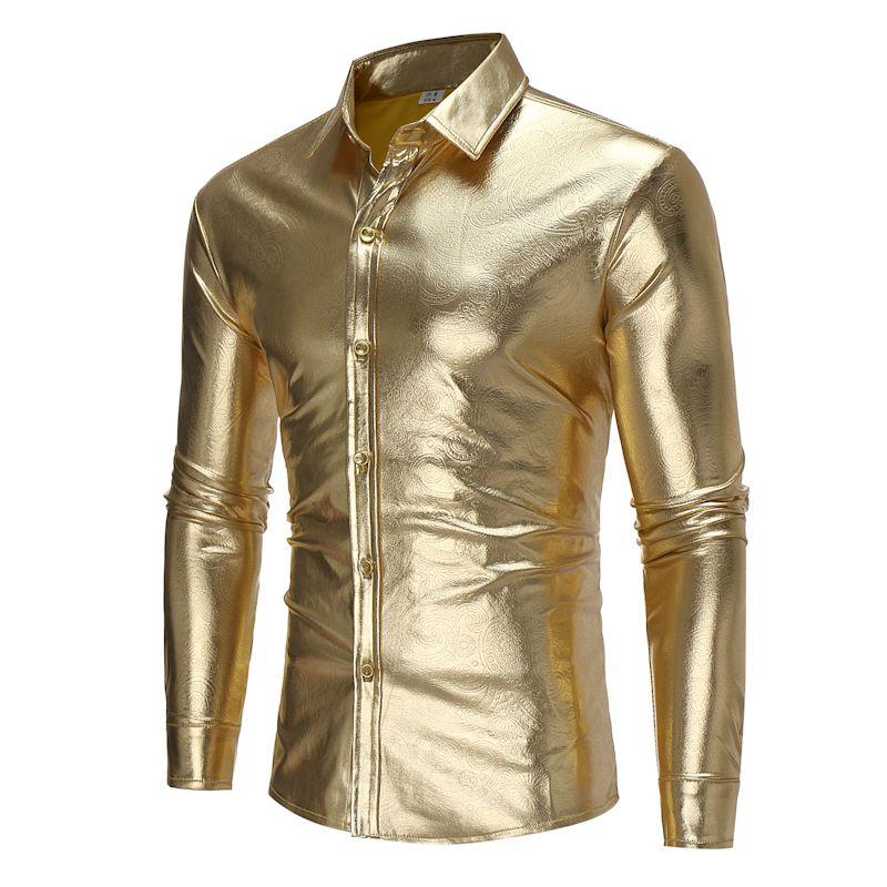 Brand 2018 Fashion Male Shirt Long-Sleeves Tops Light-Colored Shirt Personality Night Club Mens Dress Shirts Slim Men Shirt