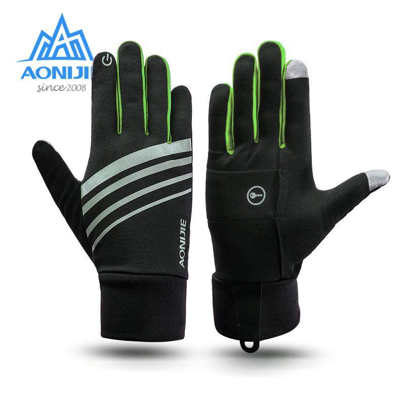 AONIJIE Hiver Unisexe Sport Écran Tactile Coupe-Vent Thermique Polaire Gants de Course Jogging, Randonnée, Cyclisme Ski Vélo