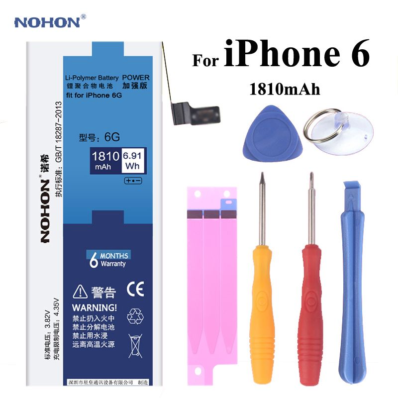 NOHON Replacement Battery for Apple iPhone 6 6G High Real Capacity 3.82V 1810mAh Li-polymer Built-in <font><b>Lithium</b></font> Battery With Tools