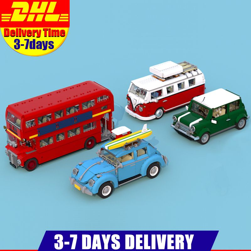 LEPIN Car 21001 Volkswagen T1 Camper Van 21002 MINI Cooper 21045 London Bus 20086 Car Building Blocks Bricks