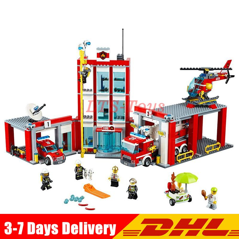 In Stock DHL Lepin 02052 City The Fire Station Set 1029Pcs Genuine LegoINGly Set 60110 Building Blocks Bricks Action Toys Gift