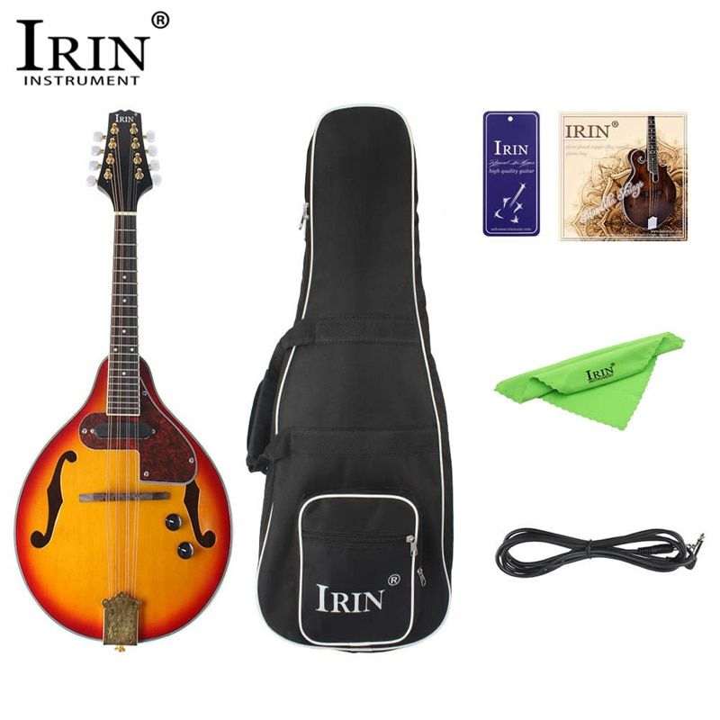 IRIN 8-String Electric Mandolin 7Pcs/Set A Style Rosewood Fingerboard Adjustable String Instrument with Cable Strings Picks Bag