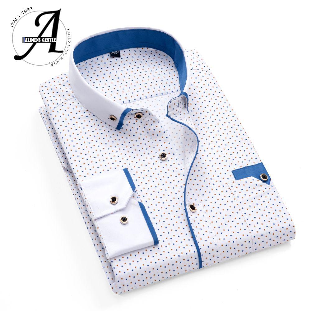 Imprimé Plaid à pois hommes chemise à manches longues chemises décontractées pour hommes Slim Fit 21 couleurs hommes chemises habillées Camisas Masculina