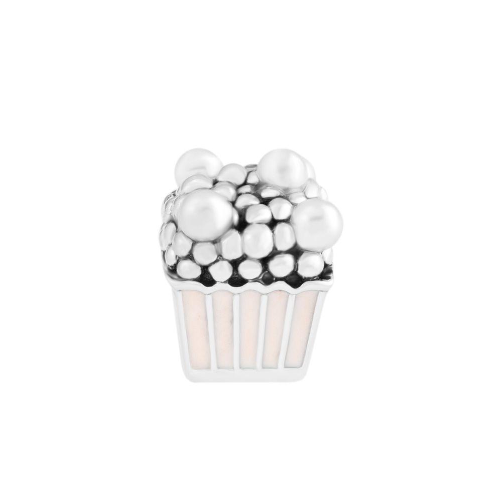 Pandulaso Delicious Popcorn Summer Pink Enamel Charms for Jewelry Making Fit Women DIY Chain Bracelets Girls Silver 925 Jewelry