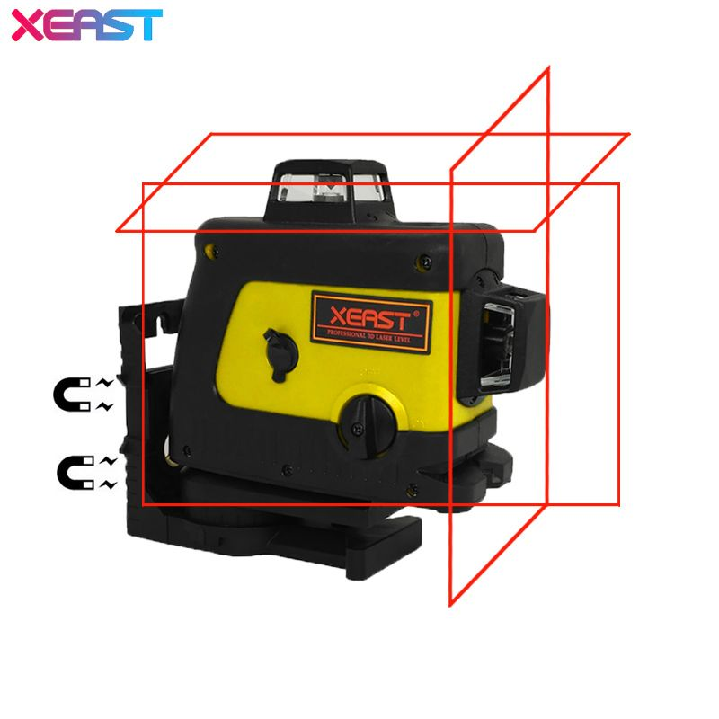 XEAST Professional 3D 12 lines laser level 360 Vertical And Horizontal Self-leveling Cross Line Red Beam with Tilt&Outdoor