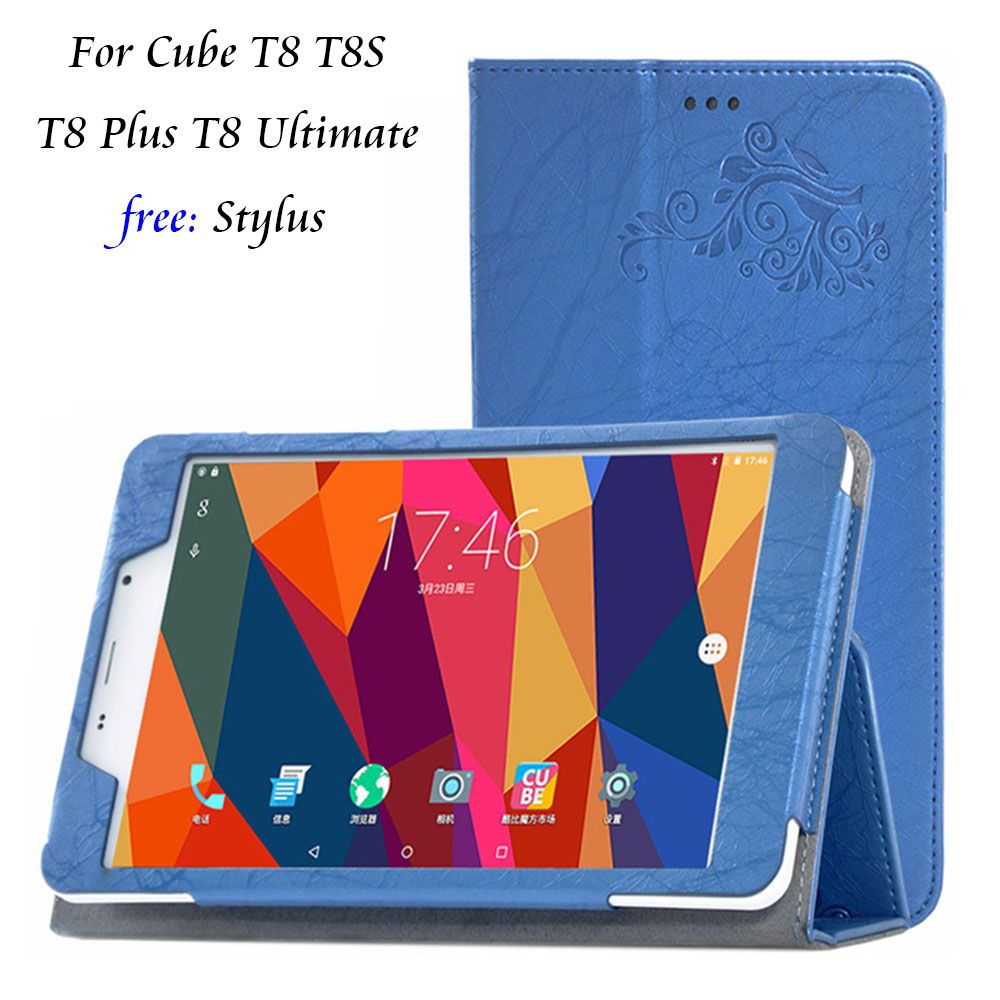 For Cube T8 Case Print Pattern PU Leather Folding Stand Cover Case for Cube T8 T8s T8 Plus T8 Ultimate 8inch Tablet Case+Stylus