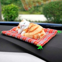 Car Ornaments Cute Simulation Sleeping Cats Decoration Automobiles Lovely Plush Kittens Doll Toy Children Gifts Accessories