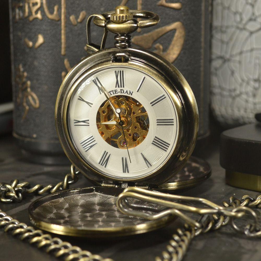 TIEDAN Zug Gesicht Antiken Luxus Marke Steampunk Halskette Tasche & Fob Uhren Kette Männliche Skeleton Mechanische Taschenuhr Männer