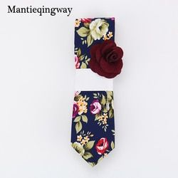 Mantieqingway 6cm Vintage Floral Cotton Ties for Men Wedding Black Tie Slim Gravatas Corbatas Fashion Casual Printed Tie Necktie