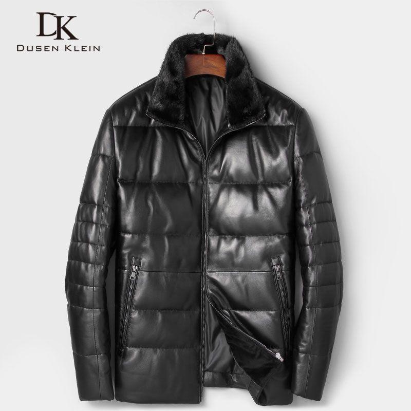 Dusen Klein Men Genuine Leather Down Jackets 2018 Autumn Winter New Male Sheepskin Coat Designer Brand Mink fur collar 7165