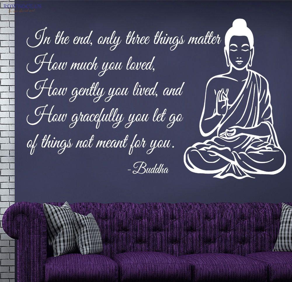 Bouddha Statue méditant Vinilos Art mur autocollant texte canapé fond divinité affiches sur le mur décor à la maison pour salon F-01