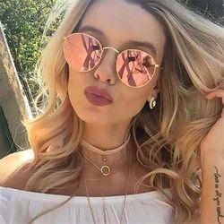 2017 ronda Retro gafas de sol mujer marca diseñador gafas de sol para las mujeres aleación espejo gafas de sol mujer oculos de sol