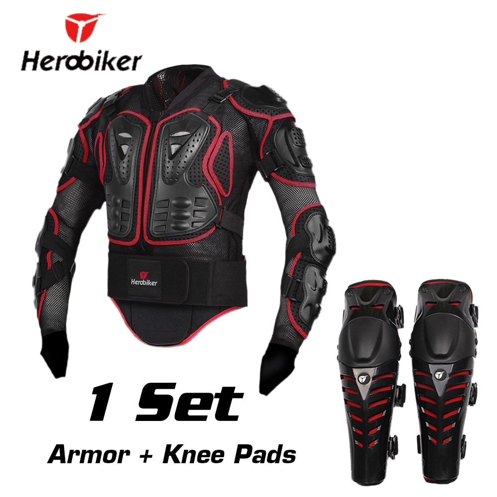HEROBIKER Motorcycle Riding Armor Jacket + Knee Pads Motocross Off-Road Enduro ATV Racing Body Protective Gear Protector Set