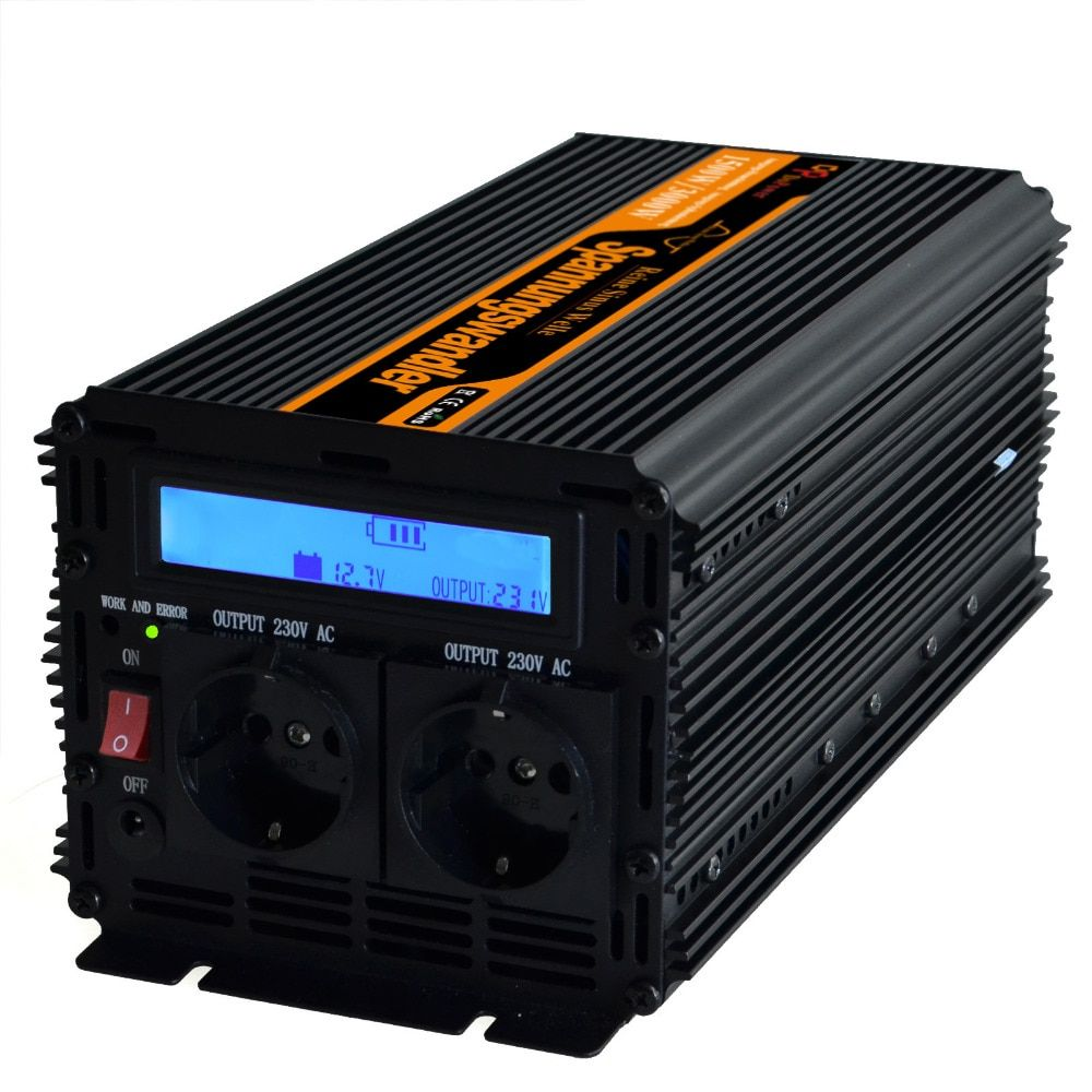 1500w 3000 w pure sine wave inverter converter DC 12V to AC 220v off grid converters power supply