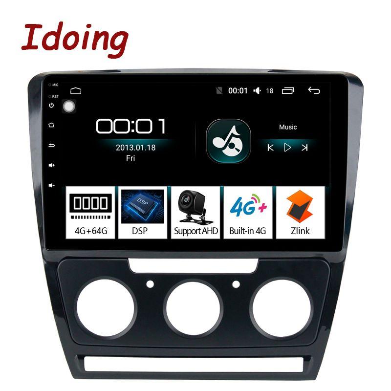 Idoing 10,2 1Din 2.5D IPS 4G + 64G Octa Core Auto Android 8.1 Radio Multimedia Player Für Skoda octavia 2007-2014 GPS Navigation
