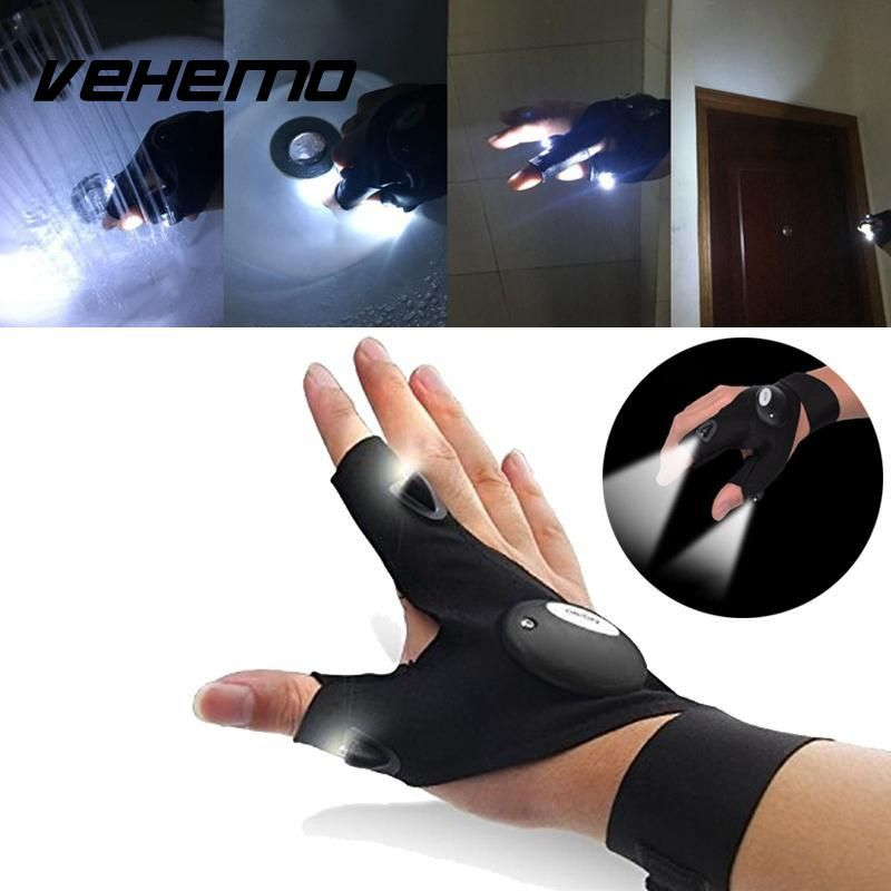Nighttime Car&motorcycle repair tools Magic Strap Fingerless Glove LED Flashlight Torch Cover Survival Rescue Tool