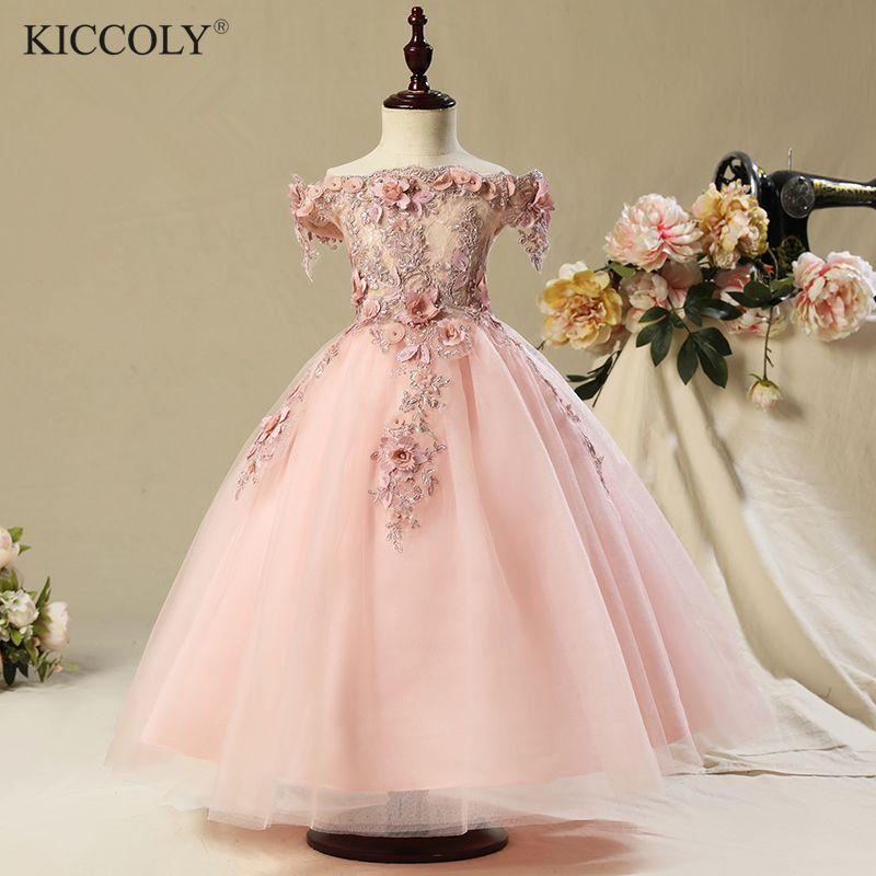 2017 Shoulderless first communion dresses for girls Vestido Daminha Casamento Luxury Ball Gown Pink Organza Flower Girl Dresses