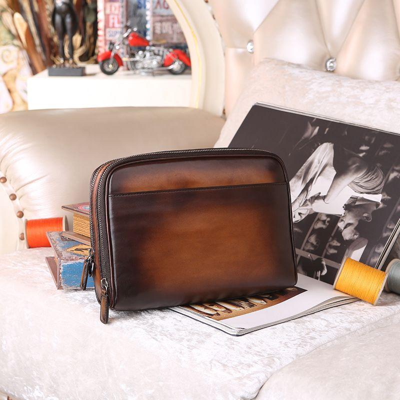 Designer italian Leather Men's Clutch Wallet Card Holder Famous Brand Leather Men Wallets purse evening bag hand patina dropship