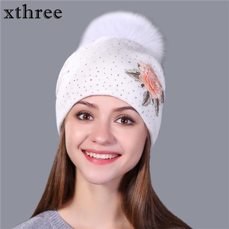 Xthree женская зимняя шапка мода вышивка вязаная шапочка для женщин натуральным лисьим мехом помпонами шерсть шляпа Skullie шляпа девушки Gorro