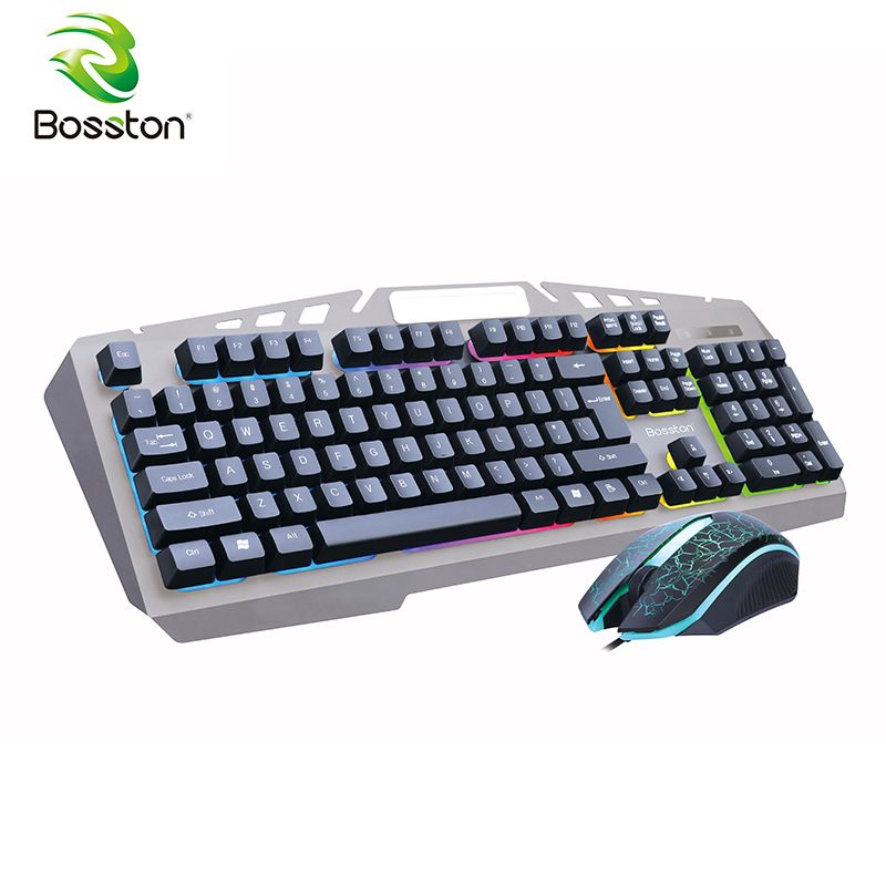Bosston 8350 Mechanical Feel USB Wired Backlight 104 Keys Gaming Keyboard and Mouse Set with phone holder